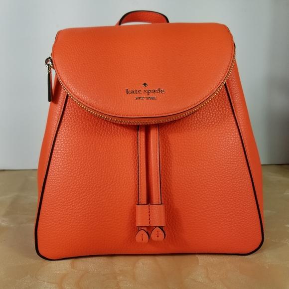 Kate Spade Leila M Flap Backpack Orange Pebbled